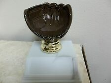"nice baseball holder trophy award, about 3.5"" High, w/ engraving, brown mitt"