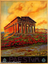 ITALY PAESTUM ANCIENT GREEK TEMPLE OF HERA NAPLES TRAVEL VINTAGE POSTER REPRO