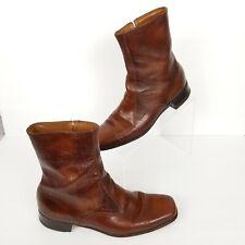 Vintage Florsheim Mens Size 9A Brown Leather Side Zip Boots 31197 FC