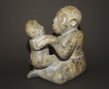 Signed Piece! Beautifully Carved Stone Sculpture Mother and Baby Museum Quality!