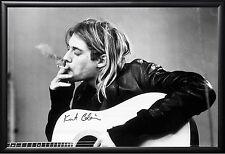 Kurt Cobain - Smoking Acoustic Guitar Poster in Premium Black Wood Frame 24x36