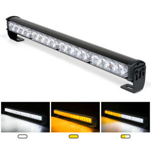 "18"" 16 LED Emergency Traffic Hazard Flash Strobe Light Bar Warning - Amber White"