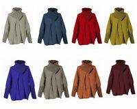 NEW Womens Italian Lagenlook Wool Mix Cocoon Zip Collar Plain Poncho Coatigan