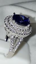 925 STERLING SILVER SIMULATED DIAMOND TANZANITE  ENGAGEMENT  RING UK P USA 8