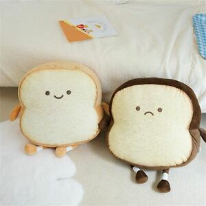 Toast Bread Slice Pillow Home Decor Plush Toy Peluche Stuffed Plushie Doll UK