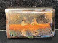 Vtg Ladies Metal Shabby Cottage Scene Lake Gold Tone Business Card Holder