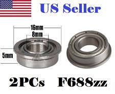 2 x F688zz Mini Metal Double Shielded Flanged Ball Bearings (8mm*16mm*5mm)