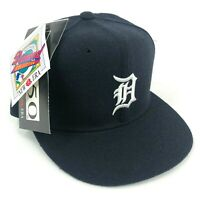 Vintage Detroit Tigers New Era Pro Model Fitted Hat Cap Navy Blue White Logo NOS
