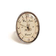 Alicia en el país de las maravillas Anillo estamos todos locos aquí Reloj Reloj De Plata Té Gato de Cheshire