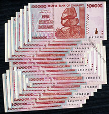 5 Billion Zimbabwe Dollars x 20 Banknotes AA AB 2008 1/5 Bundle 20PCS PaperMoney