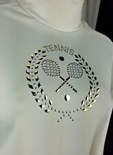 Nike Dri Fit Compression Turtle Neck Top Girls 12-14 Gold Tennis Embroidered