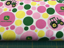 John Deere Polka Dot Tractor Flannel fabric sold by the yard #156