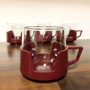 JAJ Four Burgundy Pyrex Drinkups Cups | 1960s Picnic Mugs | Camper Van Camping