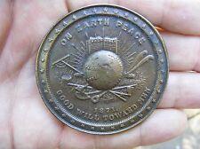 Vtg ON EARTH PEACE Belt Buckle 1871 President GRANT Medal Bergamot RARE VG+