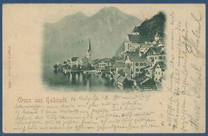 Gruß aus Hallstadt Ortsansicht Berge, gelaufen 1898 (AK3885)