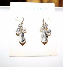 M. Haskell Silver Tone Multi Faceted Crystal Bead Cluster Earrings NWT $22