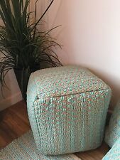 ❤️Zig Zag Fabric Pouffe Turquoise Rags and Natural Cotton 40cm x 40cm Hand Made