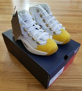 Reebok Question Mid OG Yellow Toe Basketball Shoe GS 4.5Y FX4286 Brand New