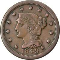 1849 1c Braided Hair Large Cent Penny Coin VF Very Fine