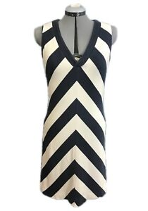 TORY BURCH Striped Dress M Medium Blue White Casual Sundress Tennis Cotton Navy