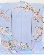 @Japanese Vintage Kimono / silk / Women 66.5inc./ Purple 3nfuji31415