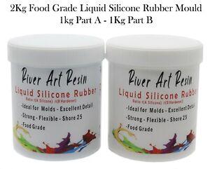 River Art Liquid Silicone Rubber Mould Making Kit - 1:1 Mix  2Kg Food Grade Blue