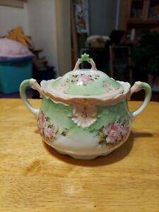 Vintage Antique Porcelain Biscuit Jar Pink Roses  & Green
