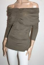 Tulips Brand Khaki Green Off Shoulder Ruched Long Sleeve Top Size L BNWT #SQ24