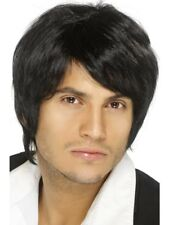 Black Boy Band Wig Short-Style Adult Mens Smiffys Fancy Dress Costume