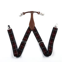 "New Suspenders 1.4"" 3.5cm Width solid Brace Clip on Leather Fittings Braces BD6H"