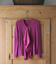 Eileen Fisher~Purple Fuchsia~Linen/Silk~Ruffled Waterall Shrug Sweater~ Sz M~EUC