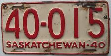 Saskatchewan 1940 License Plate NICE QUALITY # 40-015
