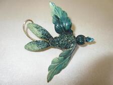 Fab Vtg 50s GREEN ENAMEL METAL Rhinestone Flower Leaf Man Bird Big Pin Brooch