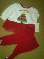 NWT GIRLS FANCY CHRISTMAS DRESS OKIE DOKIE WITH FOOTED PANTS CUTE! 0-3 MONTHS