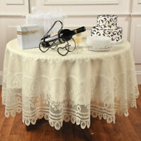 Vintage Lace Round Tablecloth Dining Table Cloth Cover Wedding Party Decor 180cm