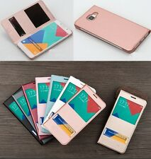 Fashion Book Style Flip View Time Dual Window PU Leather Case Cover For Phone