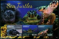 MER Tortues MINI FEUILLE of 3 Timbres MNH Dominica 2014