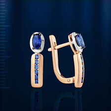 Russisches Goldschmuck Ohrringe mit Saphiren Korund ORB38634