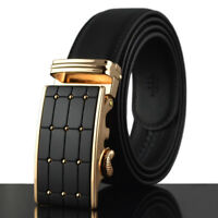 Fashion Mens Genuine Leather Belt Waistband Strap Automatic Buckle Belts Black