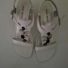 Nine West White beaded Leather Wedge Sandals Sz. 7.5M