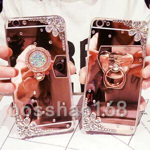 3D Girls' Mirror Bling Diamond Rhinestone Ring Kickstand Case Cover For HUAWEI
