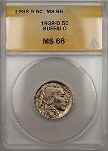 1938-D Buffalo Nickel 5C Coin ANACS MS-66 (10)