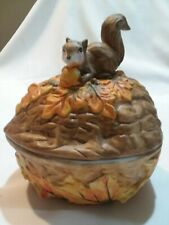 Vintage Hand Painted Ceramic Squirrel on Walnut Lidded Dish Bowl Candy Nuts