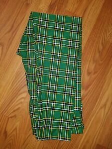 Lularoe TC Tall & Curvy green plaid St. Patricks Day Leggings new