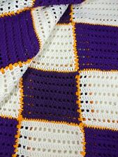 Handmade Crochet Granny Square Blanket Afghan Bedspread FULL 66x88 Lakers Purple