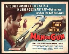MAN OR GUN Title Lobby Card (Fine) 1958 MacDonald Carey Cowboy Western 15729