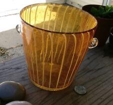 """Venini DISARONNO Hand Blown Murano Venetian Art Glass Amber ICE BUCKET 5"""""""