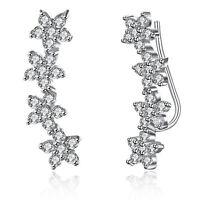 925 Sterling Silver Ear Crawler Stud Climber Earrings Crystal CZ Charm Women