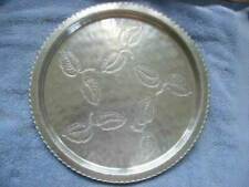 """Vintage Wrought Farberware Hammered Aluminum 14"""" Round Tray"""