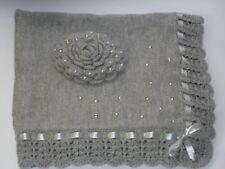 LOVELY Grey Hand Knitted Crochet Rose Bring Home  Baby Blanket Cot Pram Handmade